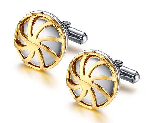 Vnox en Acier Inoxydable 18 carats plaqué Or en Forme de Boutons Manchette Manchette Manchette pour Hommes