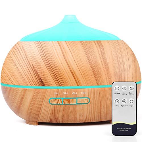 500ml Aroma Diffuser, Ultraschall Aromatherapie Aroma Diffuser mit Fernbedienung -gelb