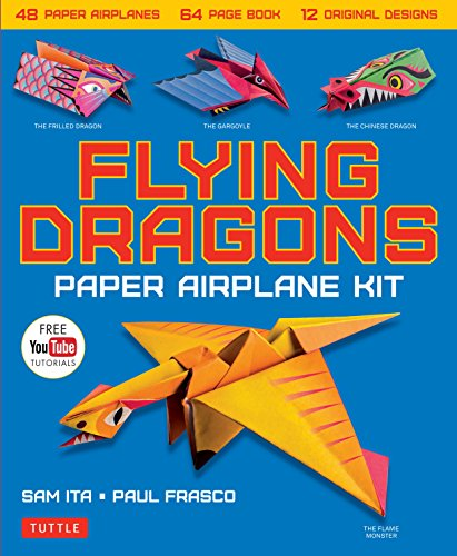Flying Dragons Paper Airplane Kit: 48 Paper Airplanes, 64 Page Book, 12 Original Designs, Youtube Video Tutorials