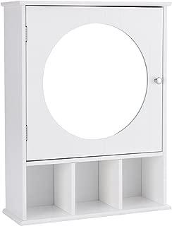 Giantex Mirrored Bathroom Cabinet Medicine Wall Mount Storage Organizer Round Mirror Adjustable Open Shelf Wood Frame Home Bedroom Furniture Bathroom Vanity Cabinets, White
