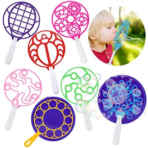 Joyibay Seifenblasen Set für Kinder, 9pcs Große Seifenblasenstäbe Lustiger Seifenblasen Blase Bubble Maker Stick mit Bubble Tray Kinder Seifenblasen Set für Outdoor-Aktivitäten & Geburtstagsfeiern