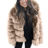 SALUCIA Nerzmantel Damen Pelzmantel Wintermantel Warme Cardigan Mantel mit Kapuze Unifarben Kunstpelz Flauschige Fellmantel Parka Outwear