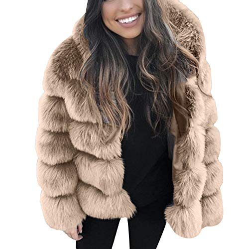 Qmber Faux Pelz Mäntel Damen Pelzmantel Felljacke Jacke warme Plüschmantel lose Teddyfell Parka Elegant Luxus Kunstpelz Faux Kunstfell Overcoat Mink Coats Winter Hooded Thick Outerwear (Small, KH)