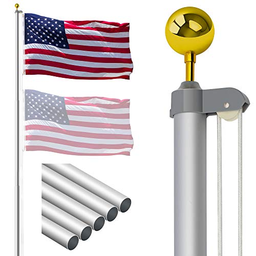 Gientan 20FT Sectional Flag Pole with 3x5 American...