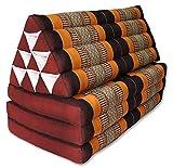 Kapok Thaikissen, Yogakissen, Massagekissen, Kopfkissen, Tantrakissen, Sitzkissen - Braun/Orange (Kissen mit drei Auflagen XXL 79x53x46 (81118))