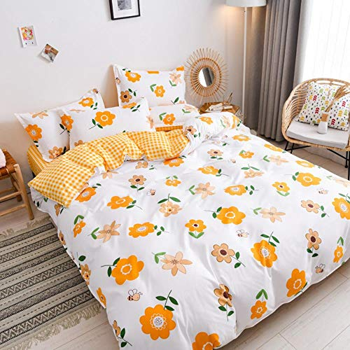 empty Duvet Quilt Cover And 2 Pillowcase Bed Set, Polyester-Cotton, Double,Easy Care And Super Soft Cotton Design,Prevent allergy,A7,(140x200) cm 2x(50x75) cm