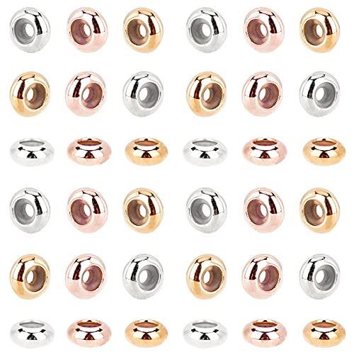 PandaHall 60 cuentas deslizantes de silicona de latón, 3 colores, 7 mm, cierre deslizante, cierre de tapones para pulseras europeas, collares de joyería