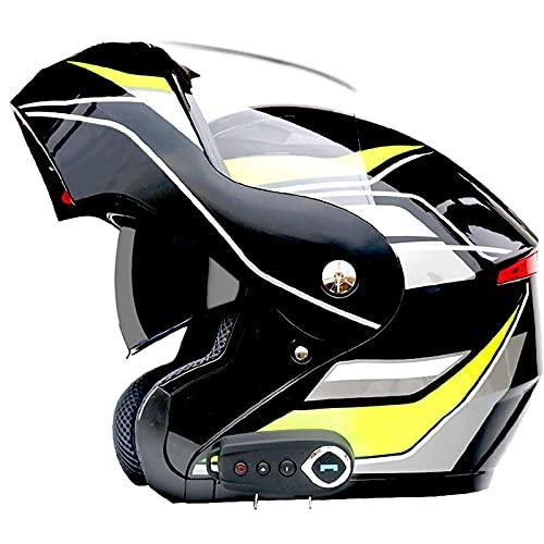 JLLXXG Bluetooth Modular Flip Up Front Casco de Motocicleta Doble Visera de Cara Abierta Moto Crash Casco multifunción Flip Casco para niños, jóvenes, Hombres, Mujeres, Adultos