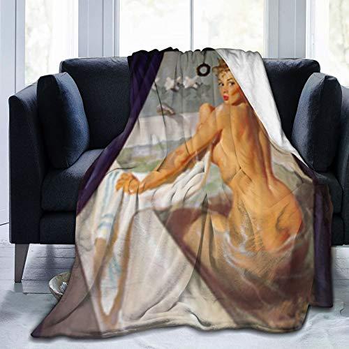 QIUTIANXIU Mantas para Sofás de Franela 150x200cm Diseño de baño de Chica Guapa Sexy - Conjunto de Pintura de Arte de Chicas Pin up Retro Vintage Manta para Cama Extra Suave