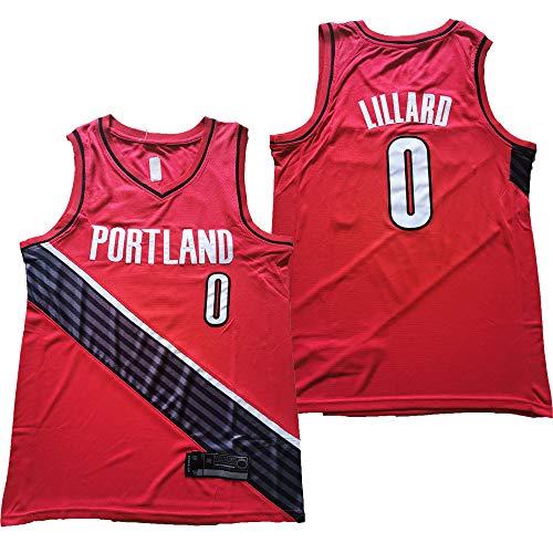 BXWA-Sports Basketball Jersey NBA # 0 Damian Lillard Portland Trail Blazers Versión Versión Transpirable Desgaste Resistente Uniforme Fitness Deporte Camiseta Camiseta Jerseys,XL