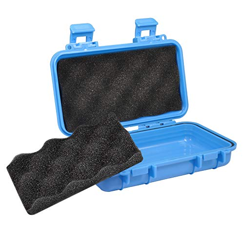 YHG Waterproof Shockproof Box, Plastic Protective Hard Case, Outdoor Survival Box Hard Drive Case, Protective Grip Carry Phone Case Airtight Outdoor Survival Storage Container (L, Blue)