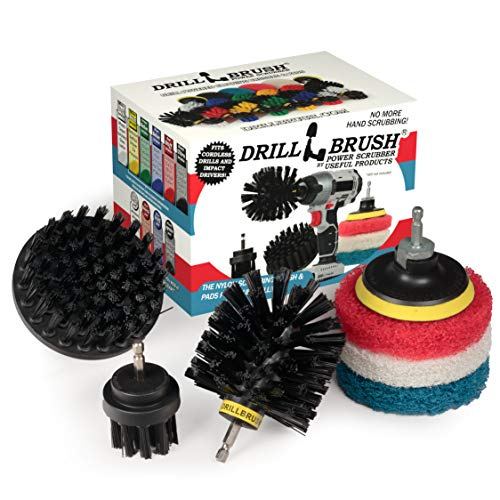Drillbrush - Grill Accessories - Grill Brush and Cleaner - Power Scrub Drill Brush - Cleaning Brush - Blue Cleaning Pads - Drill Brush Pads - Bathroom Cleaning - Shower Cleaner - Drillbrush Kit