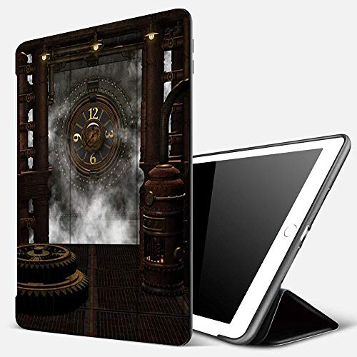 iPad 9.7 inch 2017/2018 Case/iPad Air/Air 2 Cover,3D Illustration of a Steampunk Background,PU Leather Shockproof Shell Stand Smart Cover with Auto Wake