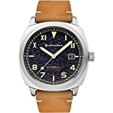 SPINNAKER Men's Hull California 42mm Brown Leather Band Steel Case Automatic Black Dial Watch SP-5071-01
