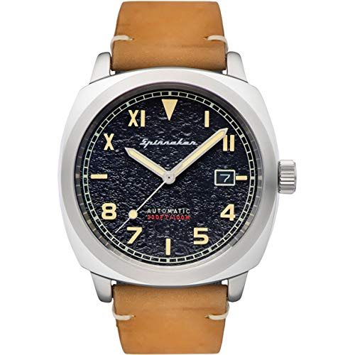 SPINNAKER Men's Hull California 42mm Brown Leather Band Steel Case...