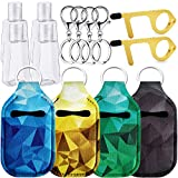 Hand Sanitizer Keychain Holder Reusable Empty Travel Size Leak-Proof Bottle with 2 No-Touch Door Opener with Stylus 30 ML Flip Cap Refillable Containers with Keychain for Soap and Lotion