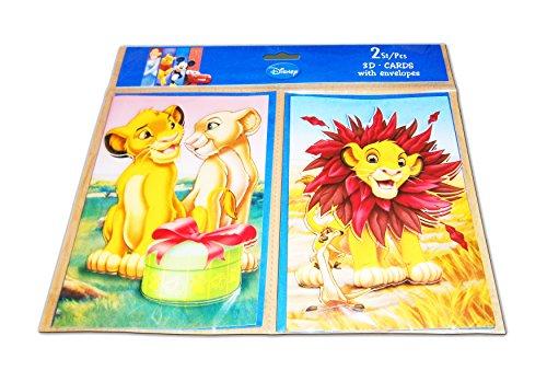 Anik-Shop 2X 3D GRUßKARTE Disney mit 2X Umschläge Geburtstagkarte Einladung 6-Motiven (Lion King)