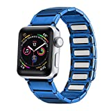 Libra Gemini Compatible for Watch Band 42mm 44mm, Stainless Steel Magnetic Convenient Wear Wristband for watch Series 6/5/4/3/2/1 (Blue)