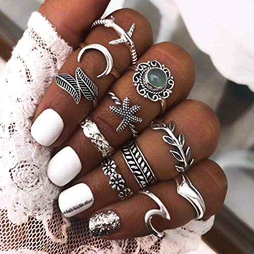 Twinklede Boho Finger Ring Set Silver Rhinestone Stackable Joint Knuckle Rings Moon Wave Starfish Stackable Ring for Women and Girls (Pack of 11) (B Silver)