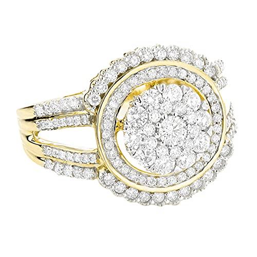 Younoo1 - Anillo de circonita cúbica para mujer, diseño de infinito con diamantes de color blanco
