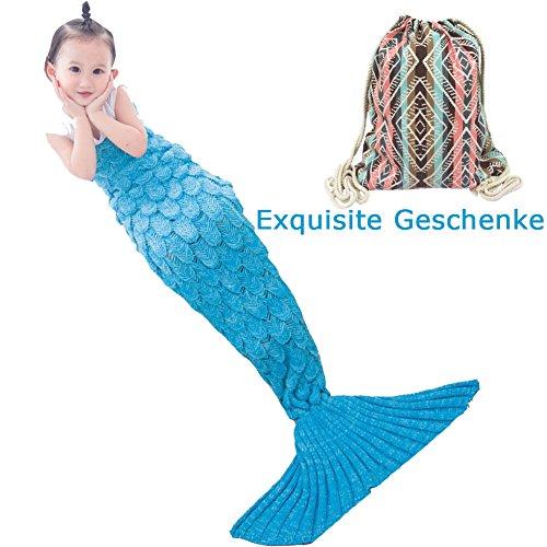 Kinder Fish-scale Meerjungfrau Schwanz Strickmuster Sofa Decke MAGFLY Nixeendstück Handgemachte Gestrickte Super Soft Cozy Perfekt Geschenk für Kinder und Teenager(Himmelblau)