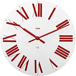 Alessi Firenze Wall Clock, White/Red