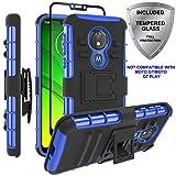 Moto G7 Power Case,Moto G7 Supra Case, ChangeJ Military Grade Protection with Tempered Glass Screen Protector Holster Belt Clip Amor Case for Motorola Moto G7 Power/Supra - Blue