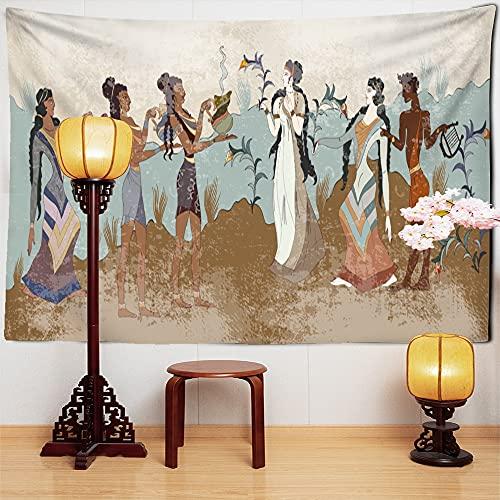 KHKJ Figuras Tapiz Colgante de Pared Pintura China Retro meditación misteriosa Arte psicodélico Hippie Bohemio decoración del hogar A1 200x150cm