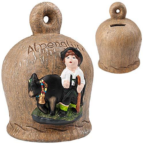 alles-meine.de GmbH große XL Spardose - Glocke - Alpenglück - Bauer mit Kuh - mit Schlüssel und Schloss - stabile Sparbüchse - aus Porzellan / Keramik - 18 cm - Sparschwein - Ver..