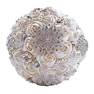 Wedding Flowers Bridal Bouquets Elegant Pearl Bride Bridesmaid Wedding Bouquet Crystal Sparkle