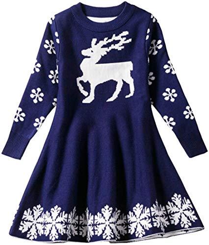 EUDOLAH Mädchen Kleid Weihnachtskleid Strickpullover Gestrickte Knielang für 2-6 Alter Kinder Hirsch Schneeflocken Christmas (Marineblau 100cm)