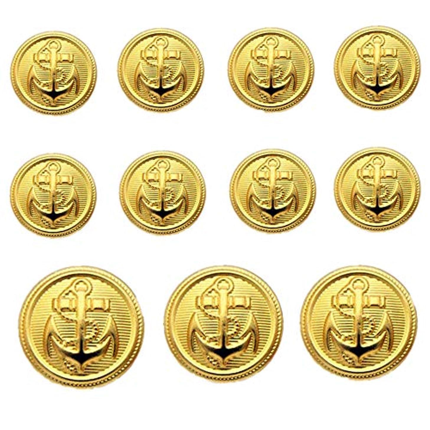 YCEE 11 Pieces Gold Metal Blazer Button Set - Naval Anchor Crest - for Blazer, Suits, Sport Coat, Uniform, Jacket