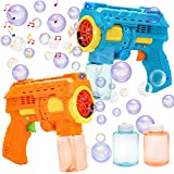 JOYIN 2 Bubble Gun with 2 Bubble Refill Solution with LED Lights and Music Party Favors Supplies Birthday Gifts,Summer Toy , Wedding, Outdoor Toys for Kids Boys Girls Children