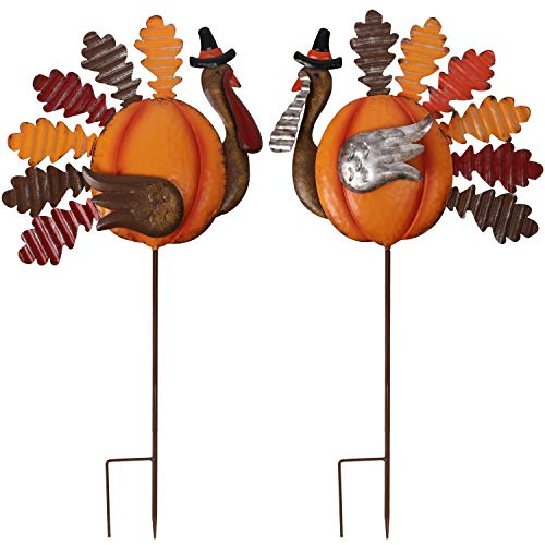 Lulu Home Thanksgiving Turkey Decors, Set of 2 Metal Turkey Stakes Fall Decor, Happy Thanksgiving Autumn Fall Outdoor Decorations