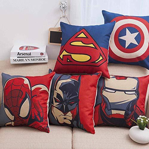 ZHAOCC Kissenbezug 5-teiliges Set Leinen Umarmung Kissenbezug Avengers Superheld Spiderman Iron Man Superman Captain America Hauptdekoration Kissenbezug 45X45Cm