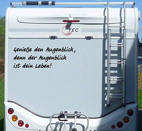 WERBEPUNKT. Aufkleber Genieße den Augenblick Wohnmobil Wohnwagen Camping Caravan Auto - 100 cm/Schwarz