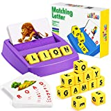 Educational Games for Kids Ages 3-8, Matching Letter Game for Kids Toys for 3-8 Year Old Boys Girls Easter Gifts for 3-8 Year Old Girls Boys Preschool Kindergarten Educational Spelling Toys Purple