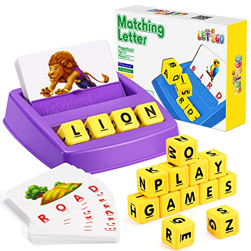 LET'S GO! Educational Games for Kids Ages 3-8, Matching Letter Game for Kids Toys for 3-8 Year Old Boys Girls for 3-8 Year Old Girls Boys Preschool Kindergarten Educational Spelling Toys Purple