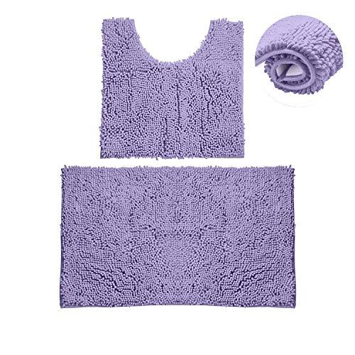 Bathroom Rugs Chenille Bath Mat Set, Soft Plush Non-Skid Shower Rug +Toilet Mat. (Lavender)