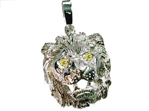mr.goldis Löwenkopf Anhänger Silber 925 Citrin Augen Sternzeichen Löwe Lion Herrenschmuck Damenschmuck ca. 14g Silber