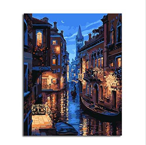 Dreamsy DIY Ölfarbe durch Anzahl Kit, Malerei Malerarbeiten Venedig Nacht Zeichnung mit Pinsel 16 * 20 Zoll Weihnachten Dekor Dekorationen Geschenke (ohne Rahmen)