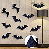Pawliss Halloween Decorations, 10 Pcs Hanging 3D Bats and Wall Decals Window Stickers, Large Bat Halloween Yard Decorations Indoor Party Decor