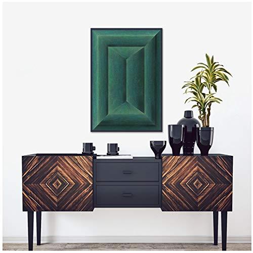 ZHANGPENGBOFBH Smaragdgrün Abstrakt Geometrisches Poster Leinwanddruck Minimalistische Wandkunst Leinwandbild Bild Wohnzimmer Dekor -60x80 cm-Kein Rahmen/Druck-4