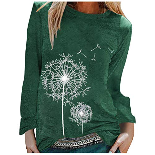 BOIYI Women's Round Neck Long Sleeve Tops T-Shirt Dandelion Printed Casual Loose Pullover Sweater Blouse Solid Colour Jumper(Green,L)