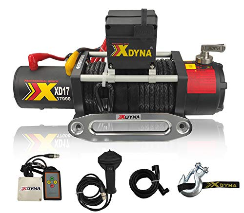 Xdyna Electric Winch with Synthetic Rope and Wireless remote-12V 17000lb. Load Capacity Capstan for ATV UTV Truck Recovery