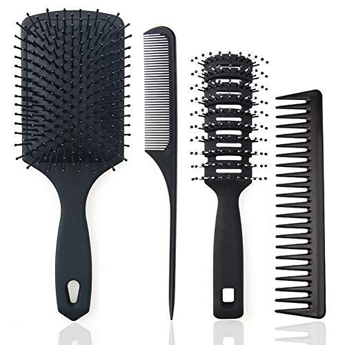 4-teiliges Stylingset mit Verschiedenen Haarbürsten,Paddle Bürste,Tunnelventbürste,Carbon Kamm,Stielkamm