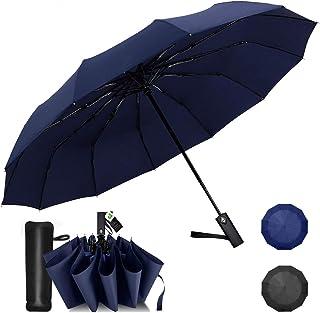 Wsky 折りたたみ傘 メンズ ワンタッチ自動開閉 10本骨 大きい 折り畳み傘 Teflon加工 風に強い 210T高強度グラスファイバー 収納ポーチ付き (ブラック)