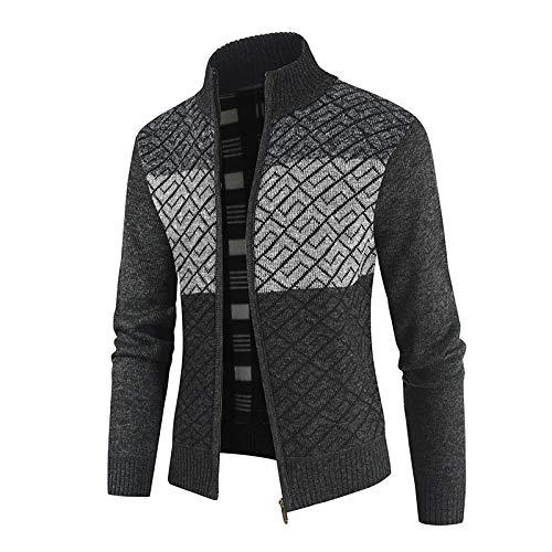 Chaqueta de suéter de Punto Grueso a Juego de Color para Hombre, Sencillo, Moda, Cuello Alto, Abrigo cómodo y cálido con Cremallera M