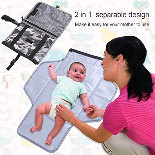 Diaper Changing pad, Diaper Changing Station,Baby Portable Changing pad Lightweight Entirely Padded Detachable and Wipe-able Mat (Small, Camouflage)