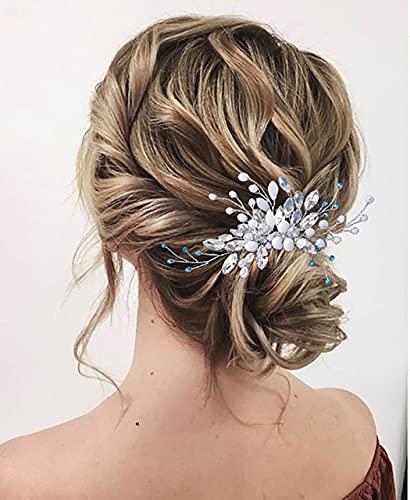Zoestar peinetas para el cabello de boda, tocado de perlas de cristal...